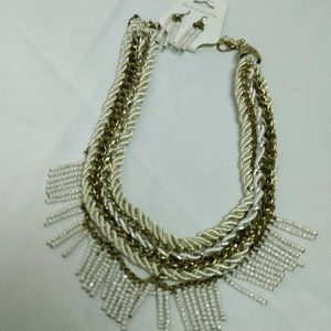 Gold, Silver and White Braided Beaded Bib Necklace